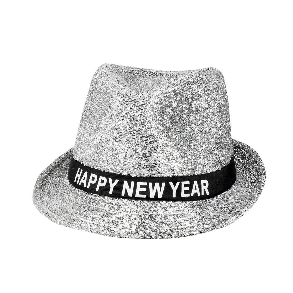 Gleufhoed Zilver Glitter Happy New Year