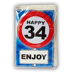 Happy Age Card met Button 34 jaar