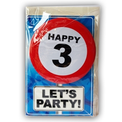 Happy Age Card met Button 3 jaar