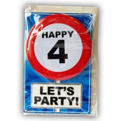 Happy Age Card met Button 4 jaar