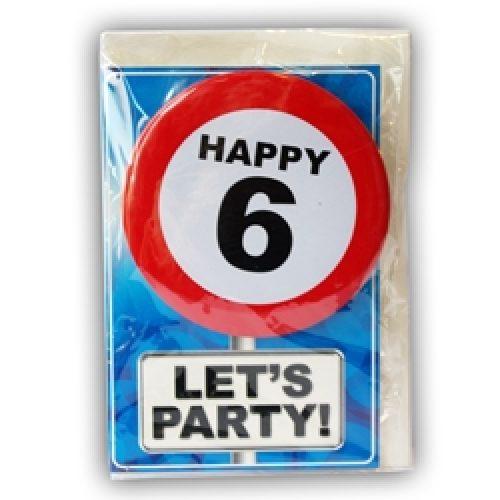Happy Age Card met Button 6 jaar