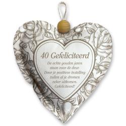 Heart Textile-40 Gefeliciteerd