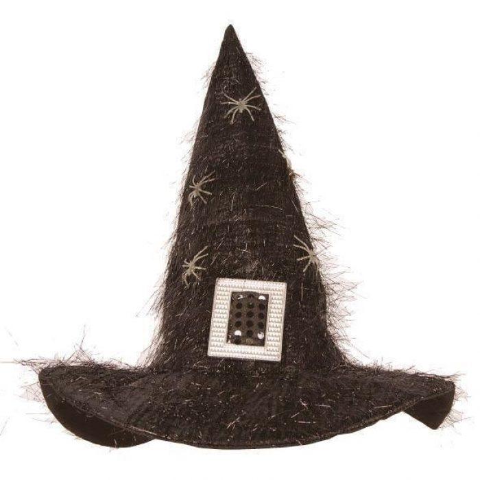 Heksenhoed Zwart Glitter Witte Spinnen