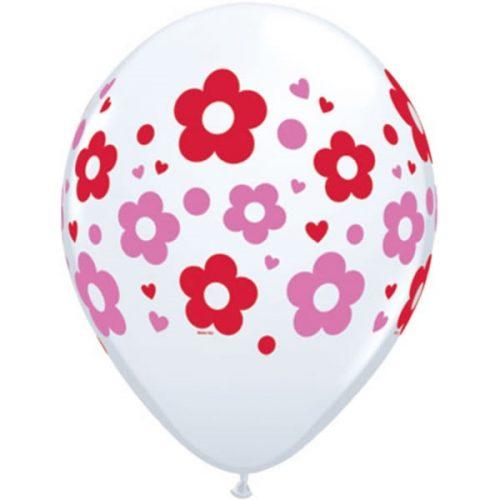 5st Helium Ballonnen Bloemen Wit/Roze/Rood