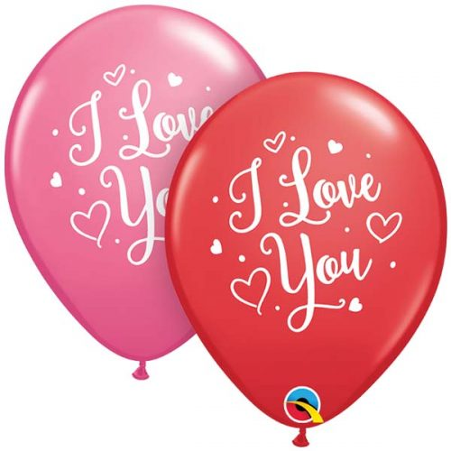5st Helium Ballon I Love You Rood/Roze 11""