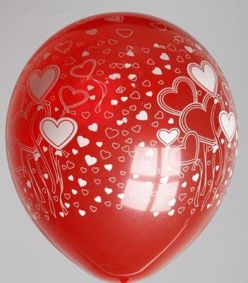 """5st Helium Ballonnen Rood met Witte Hartjes 12"""""""