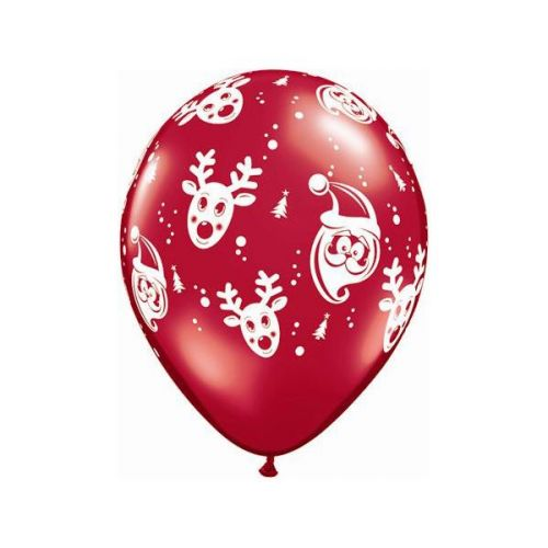 "5st Helium Ballonnen Rudolph Rood 11"""