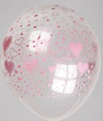 "5st Helium Ballonnen Transp. Roze Hartjes 12"""