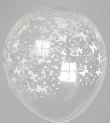 "5st Helium Ballonnen Transp. Witte Vlinders 12"""