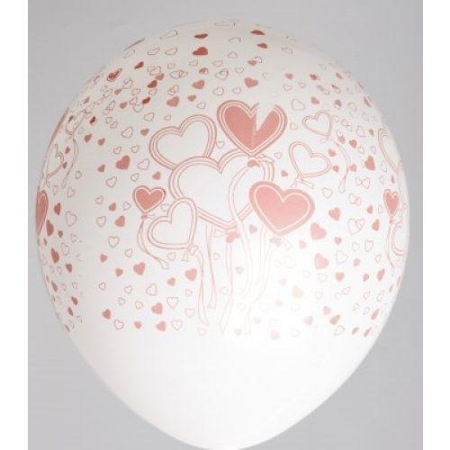 """5st Helium Ballonnen Wit met Rode Hartjes 12"""""""