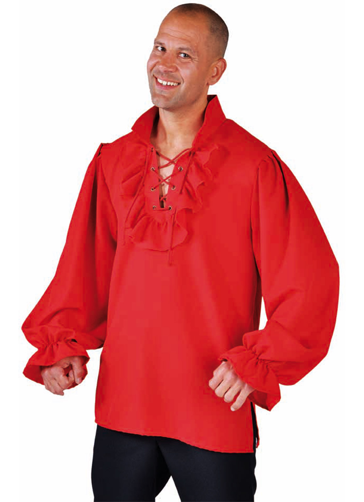 Hemd met Rouches Piraat Rood Heren