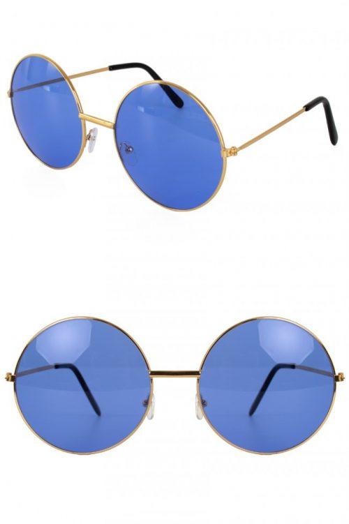 Hippie/Uilebril Blauw Glas Groot