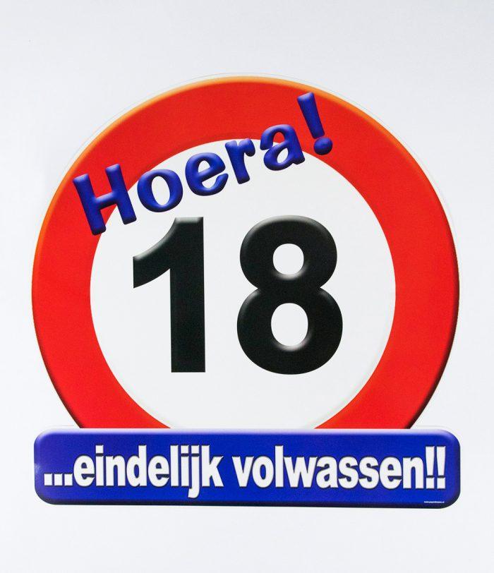 Huldeschild Verkeersbord 18 jaar