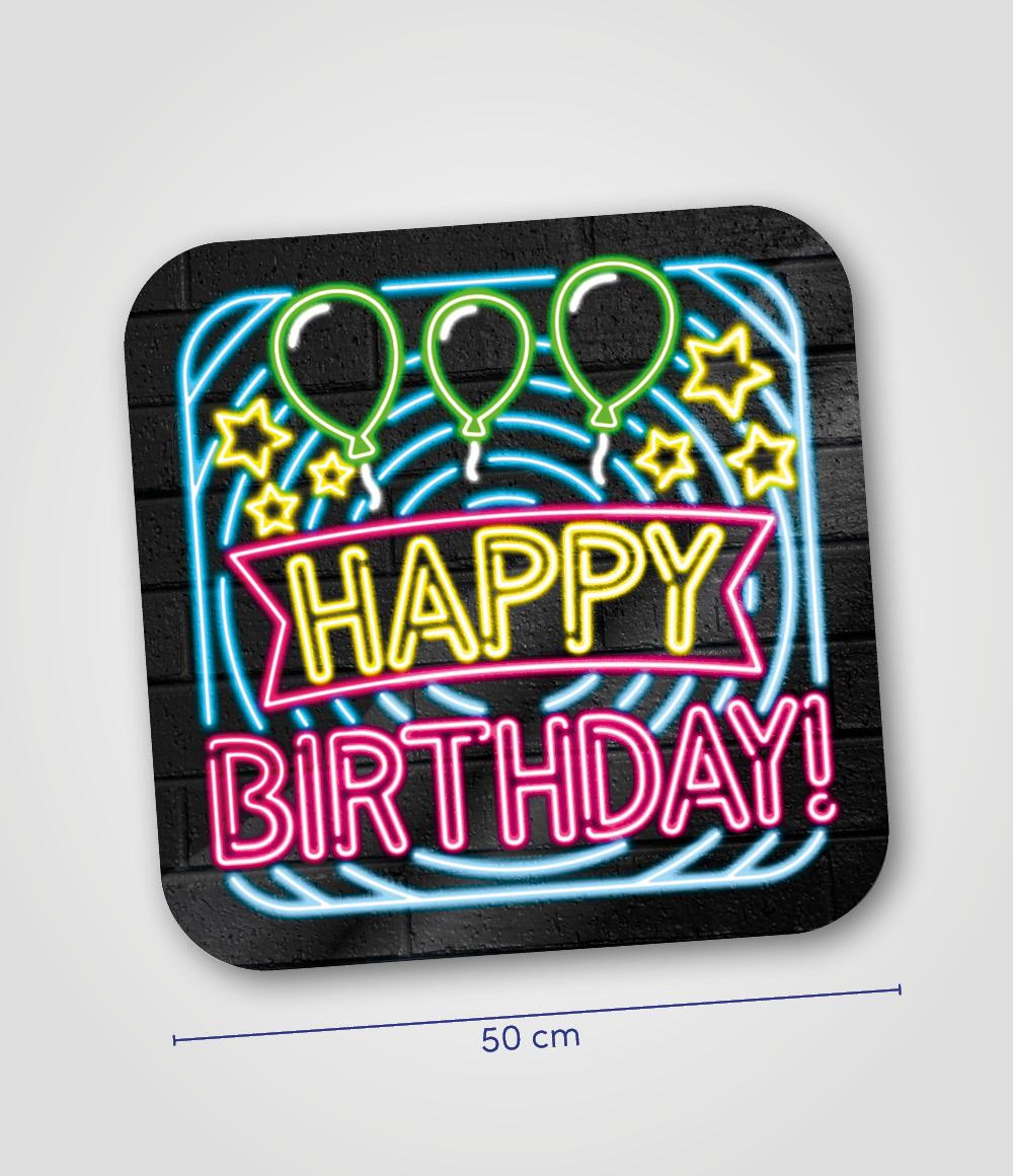 Huldeschild Neon Happy Birthday