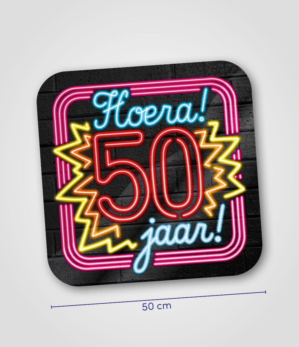 Huldeschild Neon Hoera 50 jaar