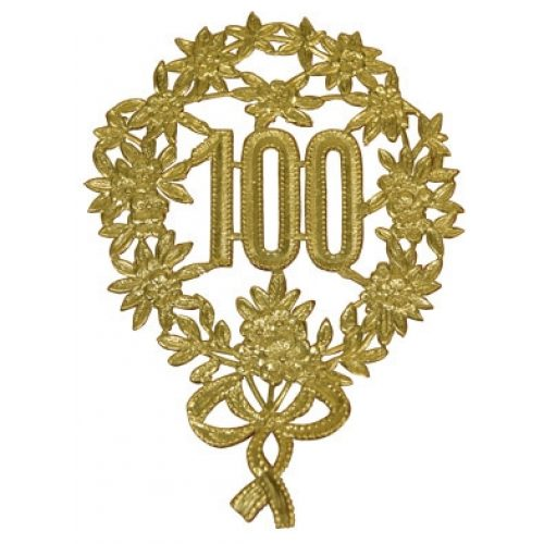Jubileum Krans '100' Goud 8x12cm