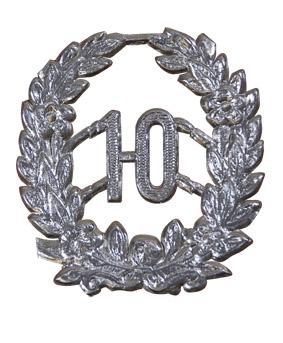 Jubileum Krans '10' Zilver 4x5cm