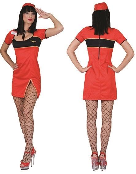 Jurkje Stewardess Rood Dames