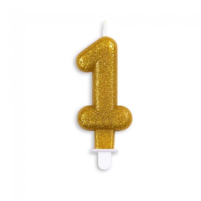 Kaars Glitter Goud Nr.1 7cm