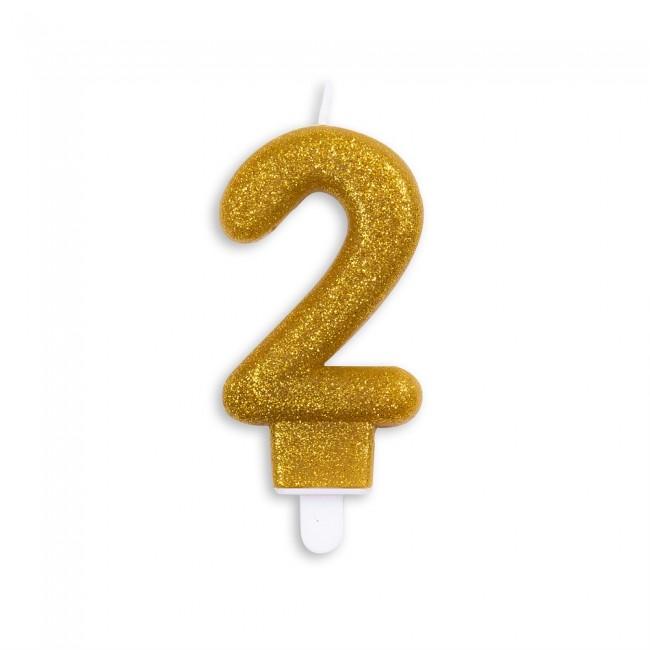 Kaars Glitter Goud Nr.2 7cm