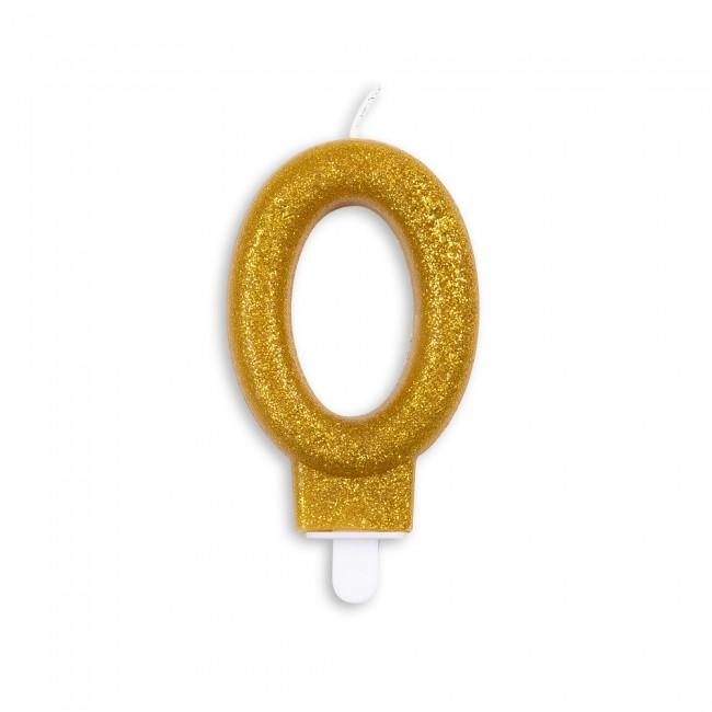 Kaars Glitter Goud Nr.0 7cm