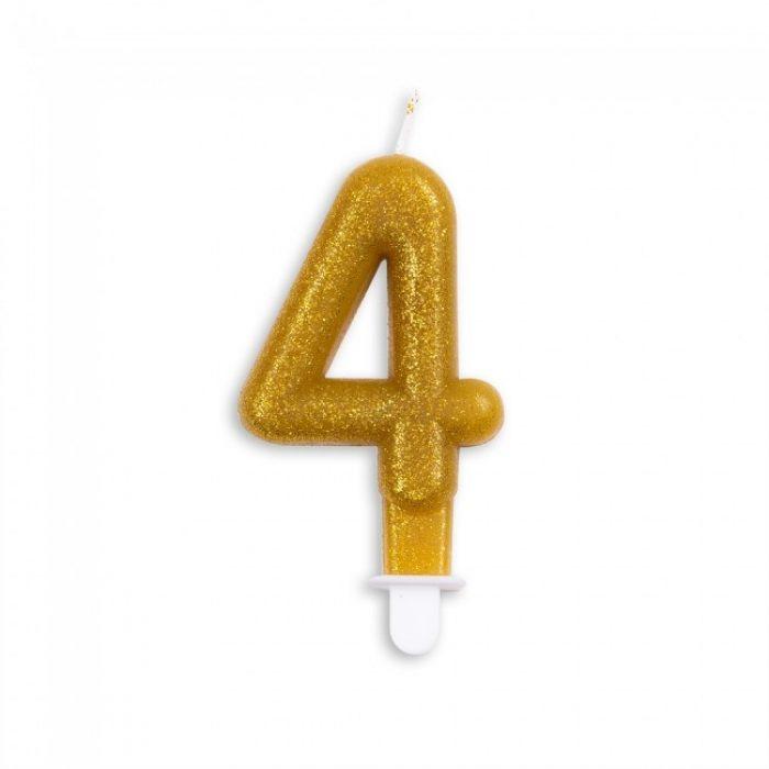 Kaars Glitter Goud Nr.4 7cm