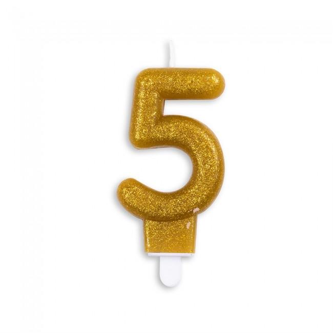 Kaars Glitter Goud Nr.5 7cm