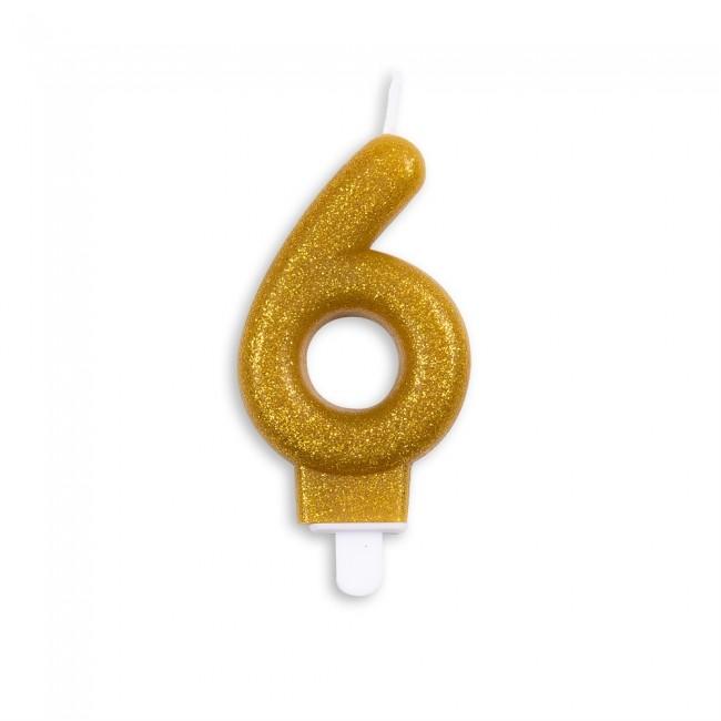 Kaars Glitter Goud Nr.6 7cm