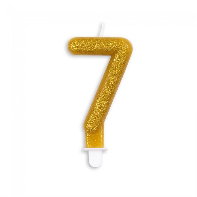 Kaars Glitter Goud Nr.7 7cm