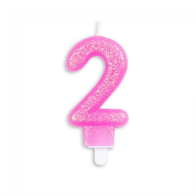 Kaars Glitter Roze Nr.2 7cm