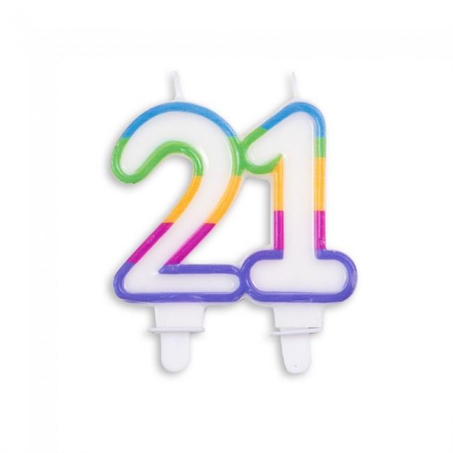 Kaars Multicolor Nr.21 8x7cm