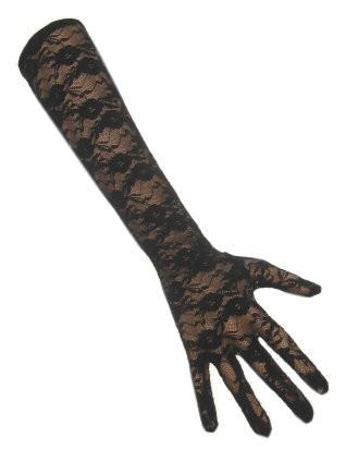 Kanten Handschoenen Lang Zwart