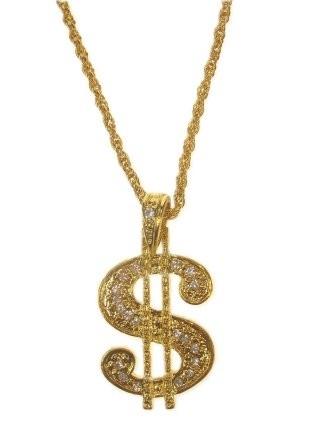 Ketting Goud Dollar Teken Groot ''50 cent''