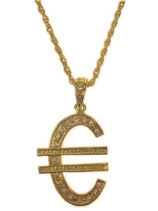 Ketting Goud Euro-teken met Strass