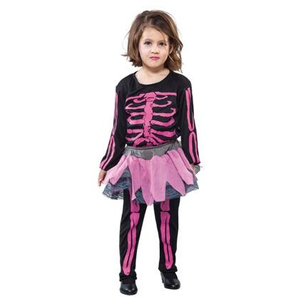 Kostuum Skelet Meisje Roze 2-4jaar