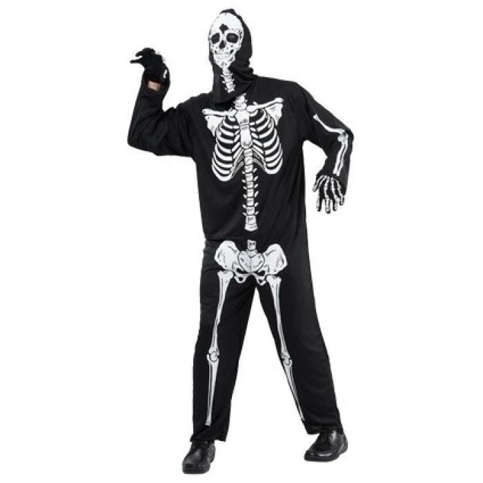 Kostuum Skelet Zwart/Wit Heren One Size