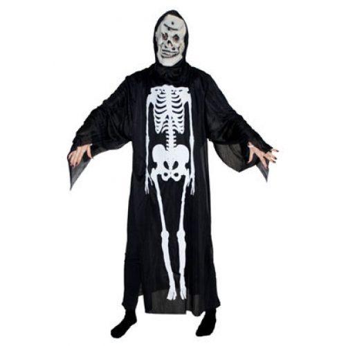 Kostuum Skelet met Masker Zwart Volwassen One Size