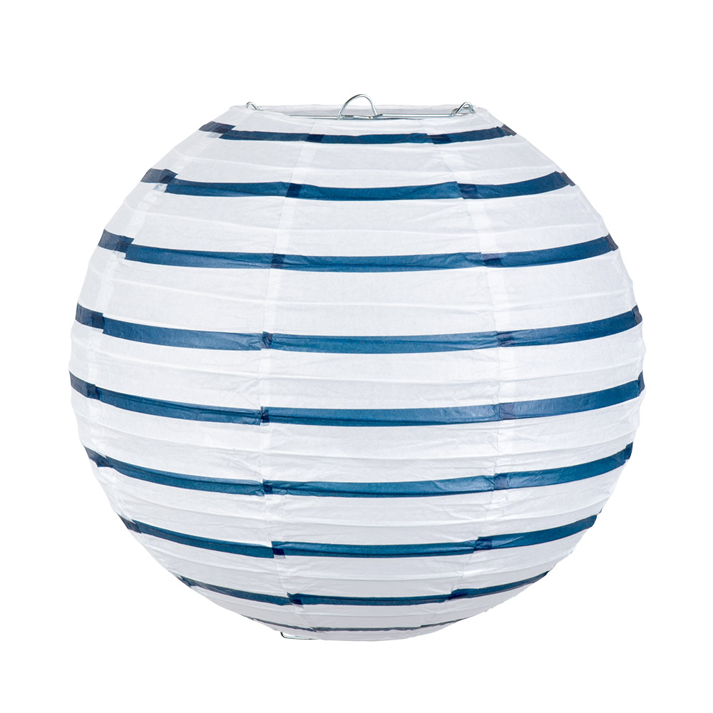 Lampion Navy Blauw/Wit 25cm
