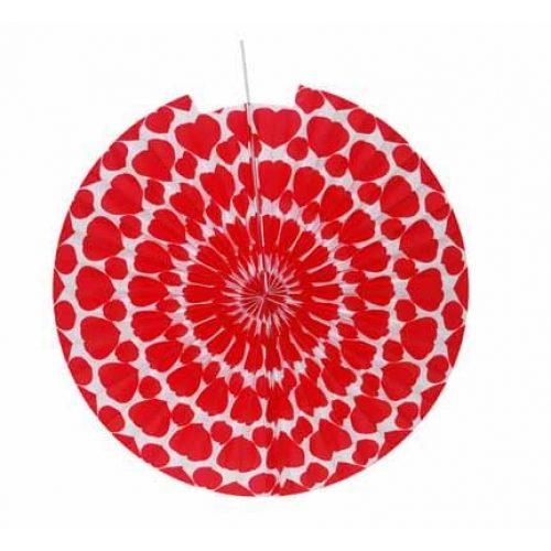 3st Lampion Ster Wit met Rode Hartjes