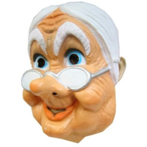 Plastic Masker Oud Vrouwtje met Bril