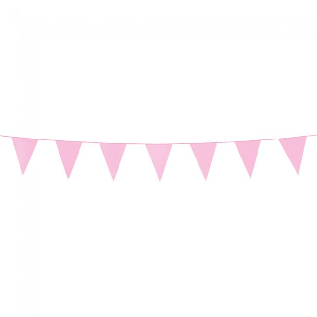 3m Mini Vlaggenlijn Uni Licht Roze