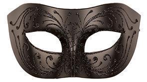 Oogmasker Venetiaans Groot Zwart met Glitter