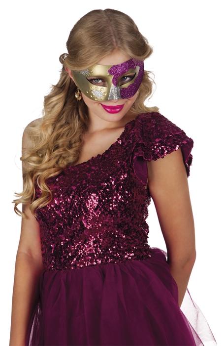 Oogmasker Venice Goud met Glitter Assorti