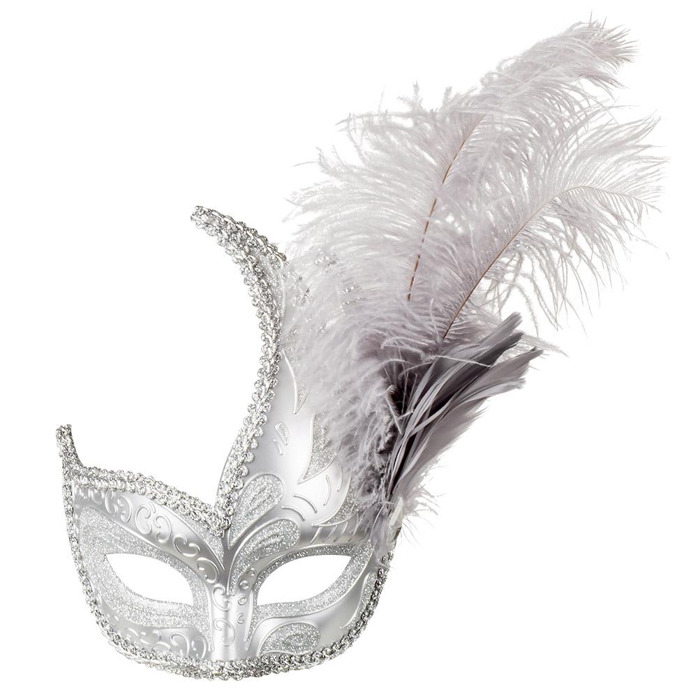 Oogmasker Venice Prezioso Glitter-Band-Veren Zilver