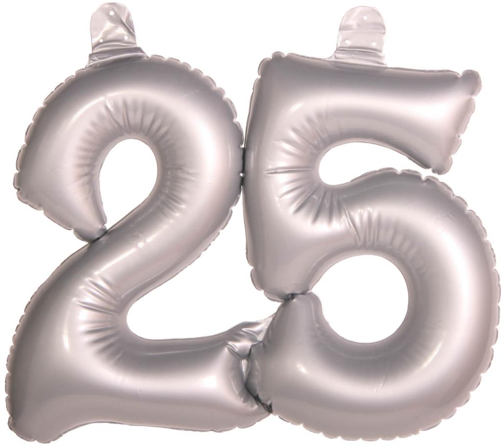 Opblaas Cijfer 25 Zilver 35cm