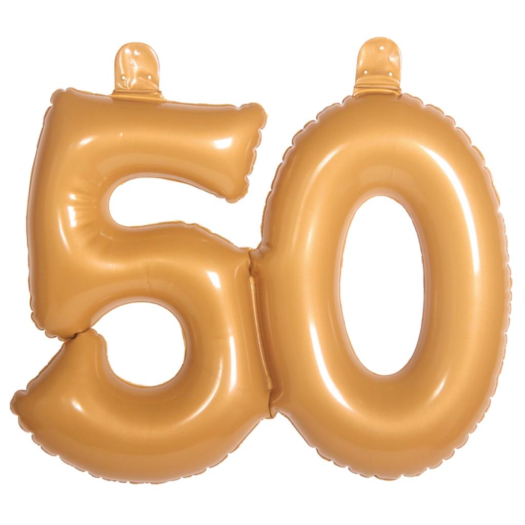 Opblaas Cijfer 50 Goud 35cm