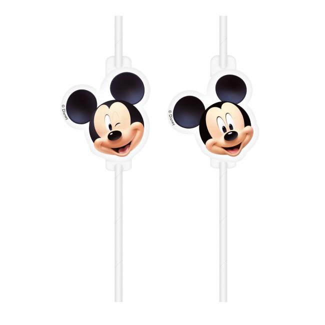 4st Papieren Rietjes Mickey Mouse