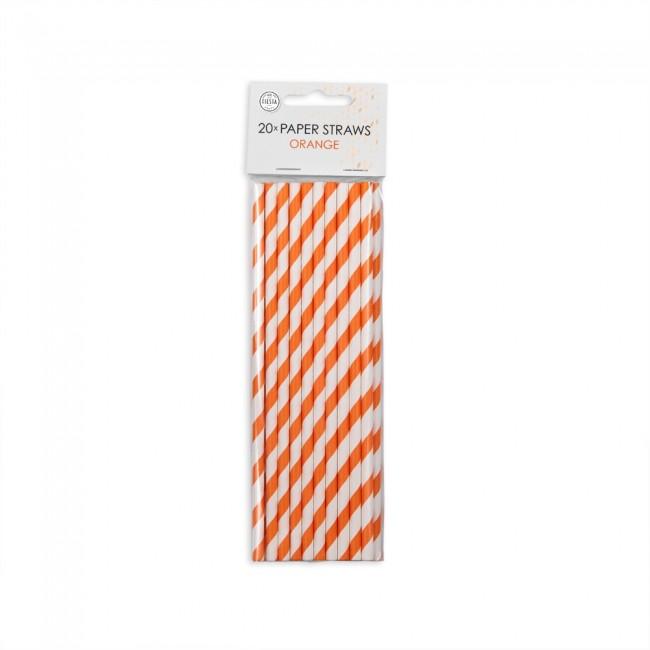 20st Papieren Rietjes Oranje Gestreept 20cm