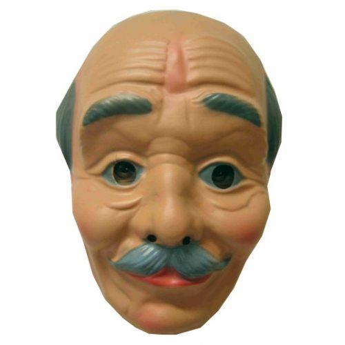 Plastic Masker Opa Kaal met Snor