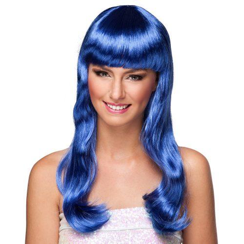 Pruik Lang met Pony Chique Blauw